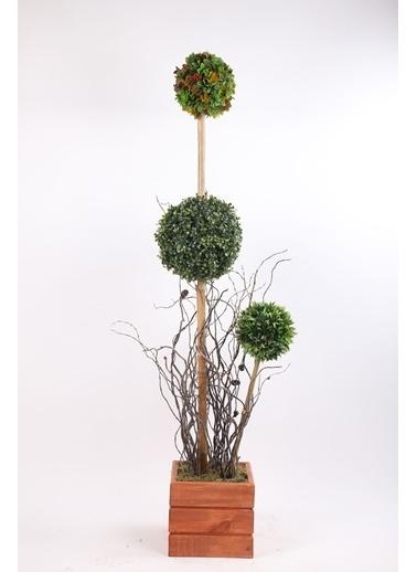Kibrithane Çiçek Yapay Ağaç Ahşap Saksıda 3'Lü Top Şimşir Arajman Kc00300020 Renkli